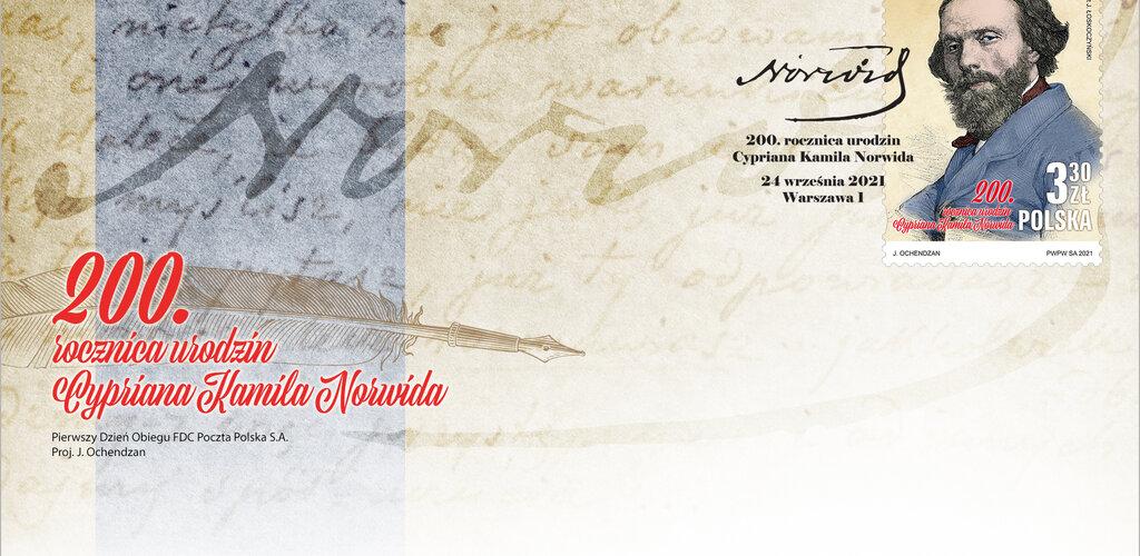 Poczta Polska na znaczku przypomina postać wielkiego Cypriana Kamila Norwida
