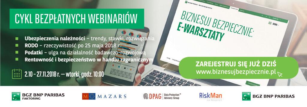 """Rusza kolejna edycja webinariów BGŻ BNP Paribas Faktoring """"Biznesuj Bezpiecznie"""""""