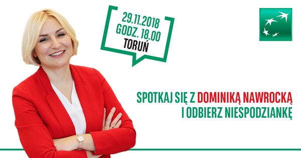 Bank BGŻ BNP Paribas zaprasza do Torunia na kolejne spotkanie z Dominiką Nawrocką