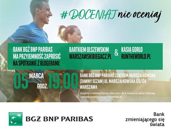 Spotkanie z warszawskim biegaczem – Bartkiem Olszewskim oraz Kasią Gorlo - runtheworld  w oddziale Banku BGŻ BNP Paribas