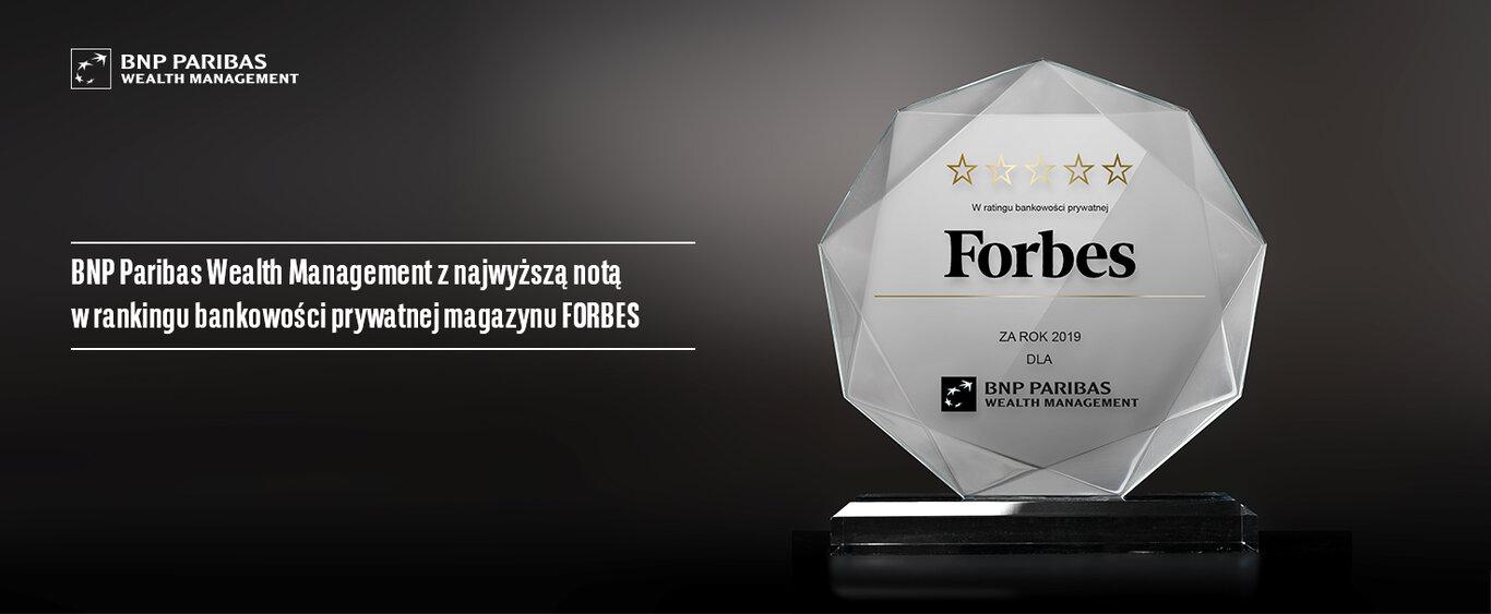 5 gwiazdek w ratingu bankowości prywatnej magazynu Forbes  dla BNP Paribas Wealth Management