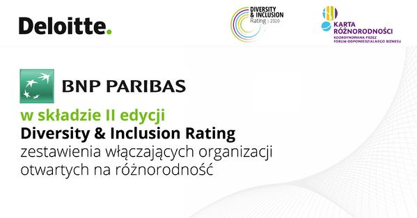 BNP Paribas wśród liderów zarządzania różnorodnością w II edycji Diversity & Inclusion Rating