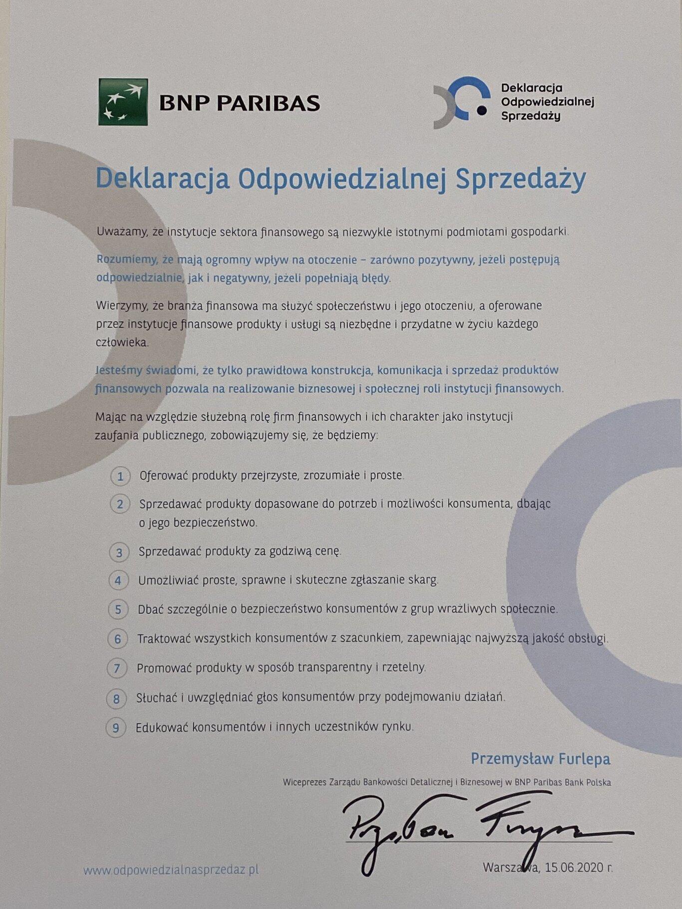 Firmy z sektora finansowego zostały sygnatariuszami Deklaracji Odpowiedzialnej Sprzedaży